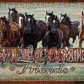 Welcome Friends Horses Print by JQ Licensing