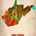 West Virginia Watercolor Map Poster by Irina  March