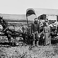 WESTWARD FAMILY IN COVERED WAGON c. 1886 Print by Daniel Hagerman