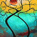 Whimsical Abstract Tree Landscape with Moon Twisting Love III by Megan Duncanson Poster by Megan Duncanson