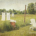 White cotton clothes drying on a wash line  Print by Sandra Cunningham