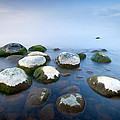 White stones in the water Print by Anna Grigorjeva