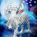 White Tiger Moon - Patriotic Print by Carol Cavalaris