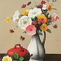 White Vase and Red Box Print by Felix Elie Tobeen