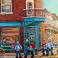 WILENSKY MONTREAL-FAIRMOUNT AND CLARK-MONTREAL CITY SCENE PAINTING Poster by CAROLE SPANDAU