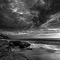 WindNSea Stormy Sky BW Print by Peter Tellone