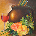 Wine And Poppies Print by Beverly Martin