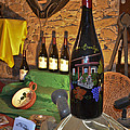 Wine Bottle on Display Print by Allen Sheffield