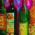 Wine Bottle Quartet on a Blue Patched Wall Print by Eloise Schneider