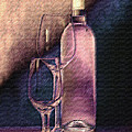 Wine Bottle with Glasses Poster by Tom Mc Nemar