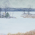 Winter Lake and Cedars Print by Garry McMichael
