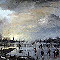 Winter Landscape with Skaters Poster by Aert van der Neer