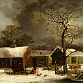 Winter Scene in New Haven Connecticut 1858 by Durrie Poster by Movie Poster Prints