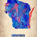 Wisconsin Watercolor Map Poster by Irina  March