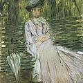 Woman Seated on a Bench Poster by Claude Monet