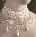 woman with pearl choker necklace Poster by Lee Avison