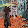 Woman with Umbrella Print by Robert Yaeger