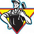 Worker With Hammer Retro Print by Aloysius Patrimonio