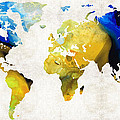 World Map 16 - Yellow And Blue Art By Sharon Cummings Print by Sharon Cummings