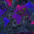 World Map - Purple Flip The Dark Night - Abstract - Digital Painting 2 Print by Andee Photography