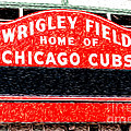Wrigley Field Chicago Cubs Sign Digital Painting Print by Paul Velgos
