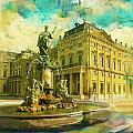 Wurzburg Residence with the Court Gardens and Residence Square Poster by Catf