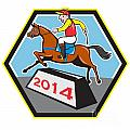 Year of Horse 2014 Jockey Jumping Cartoon Poster by Aloysius Patrimonio
