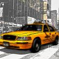 Yellow Cab at the Times Square -comic Poster by Hannes Cmarits