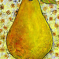 Yellow Pear on Squares Print by Blenda Tyvoll