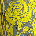 Yellow Rose on Blue Print by Marita McVeigh