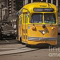 Yellow Vintage Streetcar San Francisco Print by Colin and Linda McKie