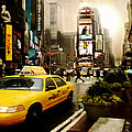 Yelow Cab at Time Square New York Poster by Yvon van der Wijk