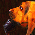 You Ain't Nothing But A Hound Dog - Dark - Painterly Print by Wingsdomain Art and Photography