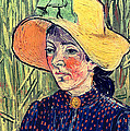 Young Peasant Girl in a Straw Hat sitting in front of a wheatfield Print by Vincent van Gogh