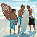 Young Skimboarders Print by Steve Simon