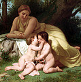 Young Woman Contemplating Two Embracing Children Print by Munir Alawi