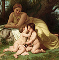 Young woman contemplating two embracing children Poster by William Bouguereau