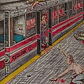 Zombies on the Red Line Print by Richie Montgomery