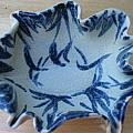 Blue Leafy Bowl Poster by Julia Van Dine