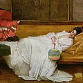 Girl in a white dress resting on a sofa by Alfred Emile Stevens
