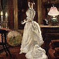 Interior scene with a lady in a white evening dress  by Paul Fischer