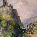 The Castle of Katz on the Rhine Poster by William Callow