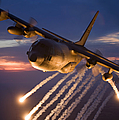 A C-130 Hercules Releases Flares Print by HIGH-G Productions