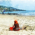 A Day at the Beach Print by Dawn Serkin