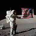 Apollo 17 Astronaut Salutes The United Print by Stocktrek Images