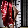 Asian Woman in Red Kimono Poster by Oleksiy Maksymenko