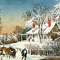 Bringing Home the Logs Print by Currier and Ives