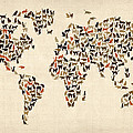Cats Map of the World Map Print by Michael Tompsett