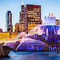 Chicago Skyline at Night with Buckingham Fountain Print by Paul Velgos