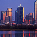 Dallas Skyline Reflected in Pond at Dusk Print by Jeremy Woodhouse